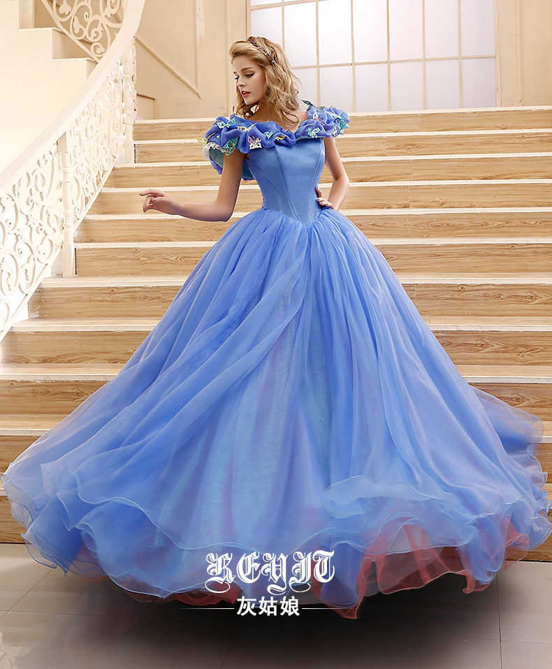 2015 customized princess cinderella dress movie cinderella for Cinderella wedding dress up