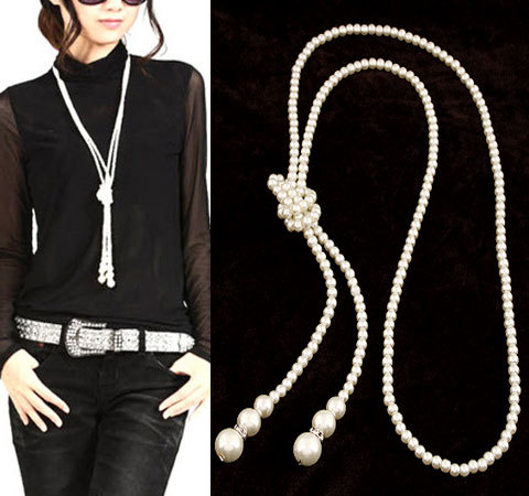 Fine Statement Long Pearl Rhinestone Fashion Necklaces & Pendants for Women Jewelry Colar Femininos 2015 Accessories Bijuterias(China (Mainland))