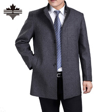Autumn And Winter Overcoat Men Long Section Mens Wool Coat Casual Stand Collar Men's Woolen Coat Wool & Blends Warm Snow Coats(China (Mainland))