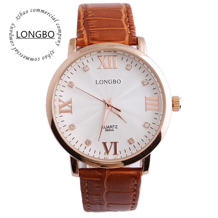 2015 Mens Genuine Leather Strap Watch New Round Business Quartz Watches Brown Waterproof Wrist Watch 7 Can Customize LOGO<br><br>Aliexpress