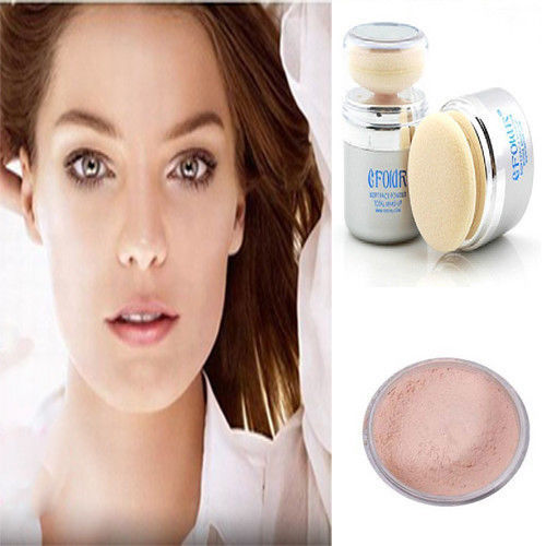 Easy Use Bare Skin Make-up 2 in 1 Face Mineral Powder Sponge Puff Facial Compact(China (Mainland))