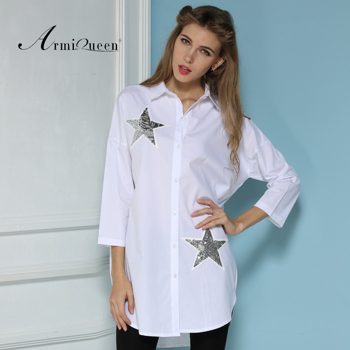 Plus Size cotton Women Blouse Camisas Blusas Femininas 2015 Ladies three quarter Sleeve Sheer Summer White Blouses Shirt - Harve leger store