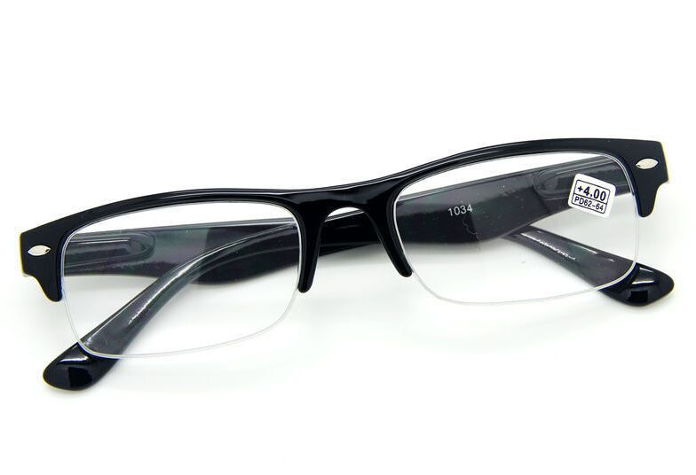 HALF RIM HALF FRAME SQUARE CLEAR LENS READING GLASSES SPRING HINGES 1.0~2~3~4.0(China (Mainland))