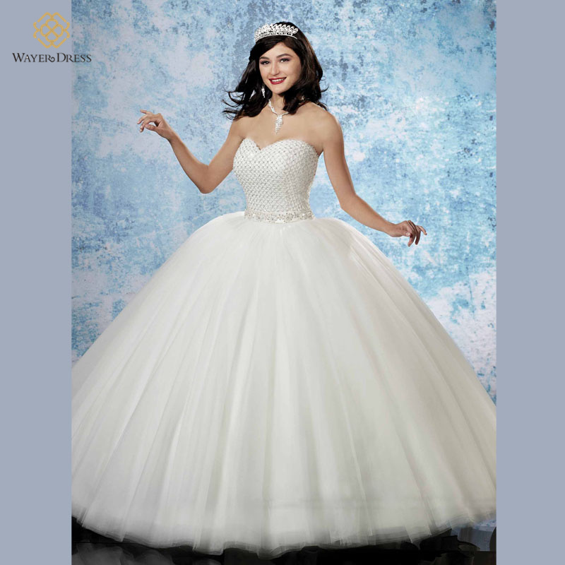 2016 Romantic Princess Ball Gown Puffy Wedding Dresses