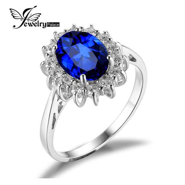 JewelryPalace Принцесса Диана Уильям кейт Миддлтон 3.2ct Создана в Синий Сапфир Обручальное Кольцо Стерлингового Серебра 925