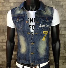 europen American style 2015 summer cotton Men's Casual Slim sleeveless vest blue denim Coats popular high quality Outerwear vest(China (Mainland))