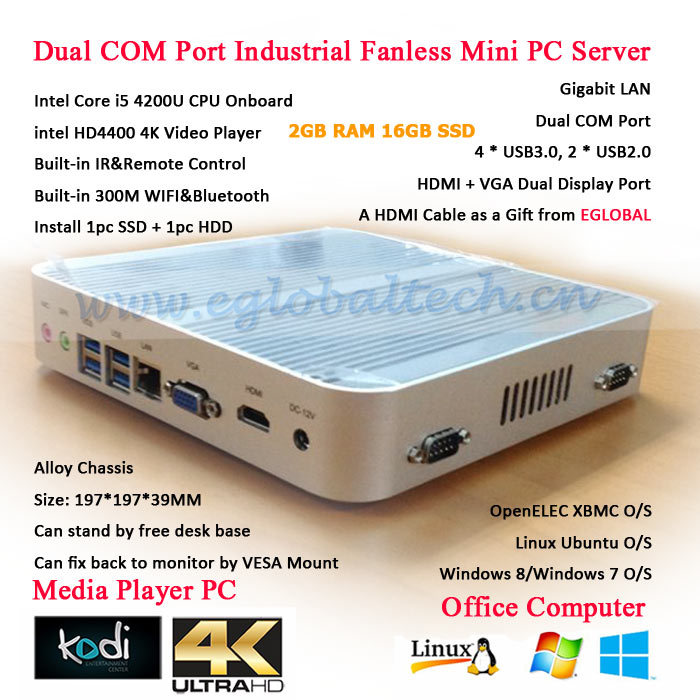 Ultra Low Cost PC Dual RS232 COM Fanless Green 2GB RAM 16GB SSD Mini HTPC with Intel Core i5 4200U 4K HD HTPC Linux(China (Mainland))