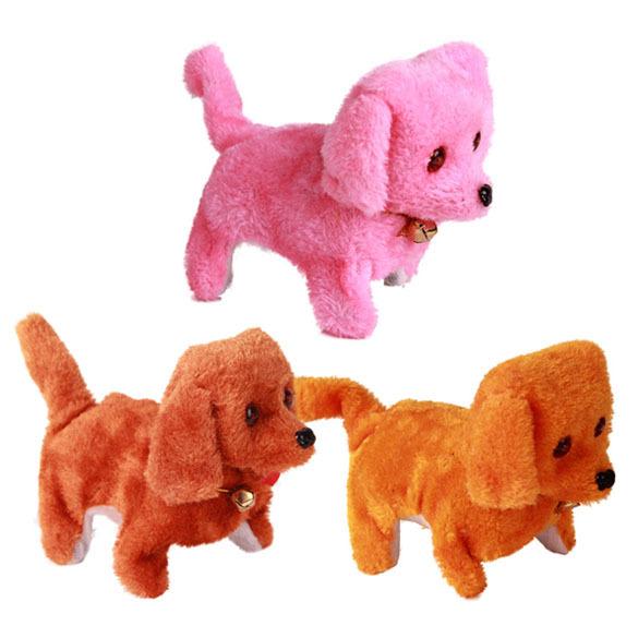 Free Shipping New Battery Powered Steel Blue Plush Walking Barking Electronic Dog Toy Educational Toys(China (Mainland))