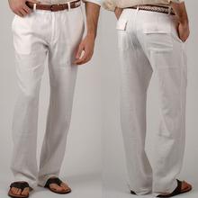 Hot sale Leisure trousers 3 color 100% linen Cotton Mens pants regular straight bottom flax men casual pants