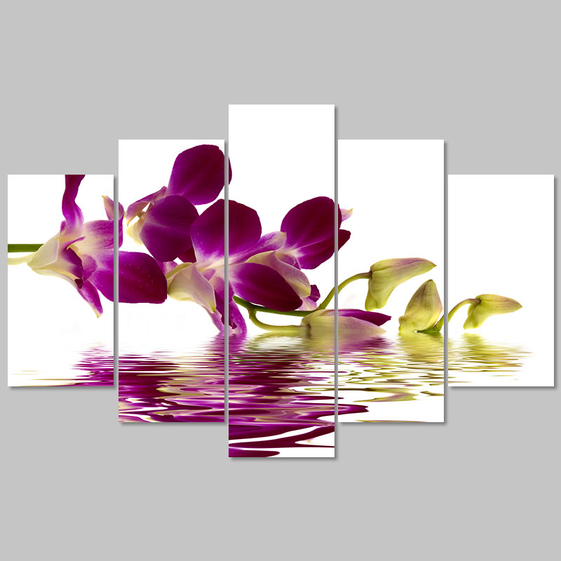 Modern cool lager size 5 pcs purple living room Decoration magnolia Ink flower Canvas Painting wall art home decor unframed(China (Mainland))