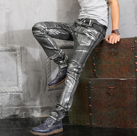 Free shipping 2015 new hot Autumn and winter Slim Straight brand casual jeans men silver coating Denim Pants Motorcycle pants Одежда и ак�е��уары<br><br><br>Aliexpress