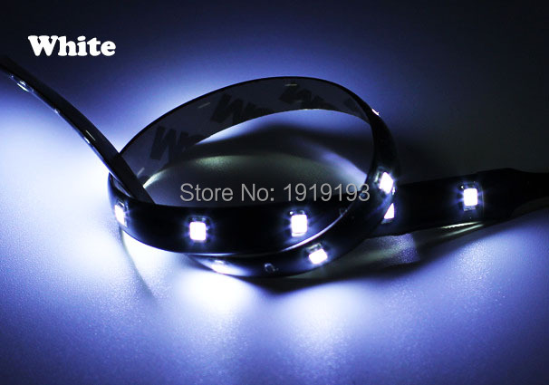 1PCS NEW 6 Color Choice 30cm SMD3528 LED Strip Waterproof DC-12V 15 Crees Ultra Bright LED Light for Motor,Bike,Car decoration