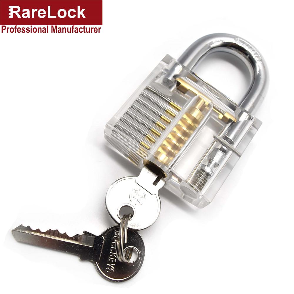 Rarelock Transparent Visible Cutaway Practice Padlock Lock Pick Training Skill For Locksmith Tools(China (Mainland))