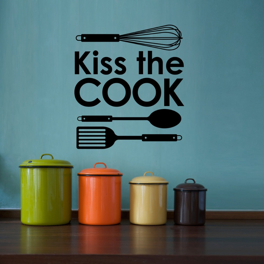 Cuisine Sticker Kitchen Wall Decal Quote Kiss The Cook Wall Stickers For Kitchen Mural Poster Decor Home Decoration S 159