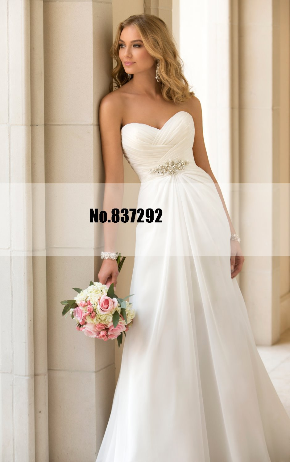 White Plus Size Wedding Dresses Under $100 : Cheap wedding dress under simple cascading flattering