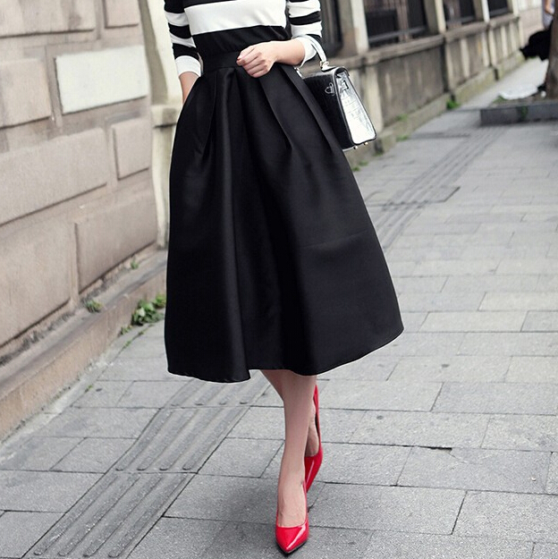 Classic Style Vintage Swing Skirts Women Casual New Fashion 2015 2 Colors Black And Blue Satin