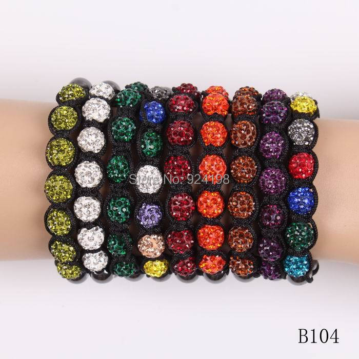 Minimum order $10 7*10 MM disco crystal ball shambala bracelet with 6 Hematite beads for women(China (Mainland))