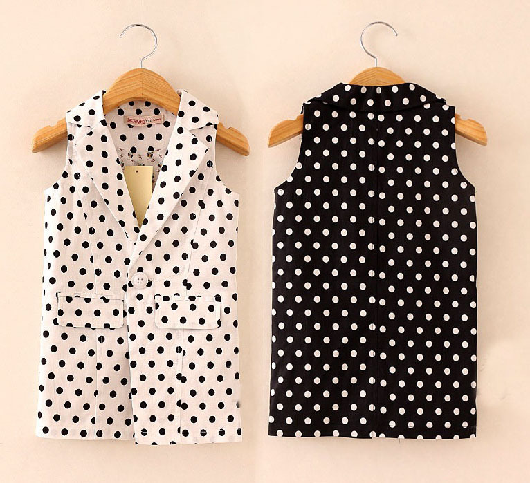 Wholesale(6pcs/lot)-  2015 autumn spring Girls dot collar sleeveless shirt  vest  for 2-8 years old child girl<br><br>Aliexpress