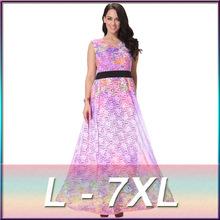 plus size L-7XL high quality women's 2016 spring new European style gradient color long lace dress