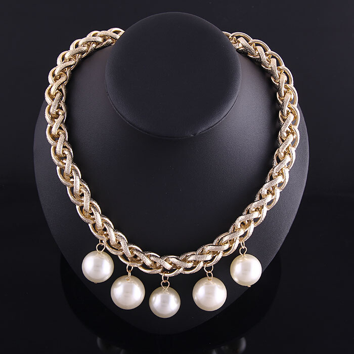 Hot Sale 2015 Fashion Elegant Gold-plated Large Chain Pearl Necklace Acrylic Collar Necklace for Women Wholesale Jewelry N1768(China (Mainland))