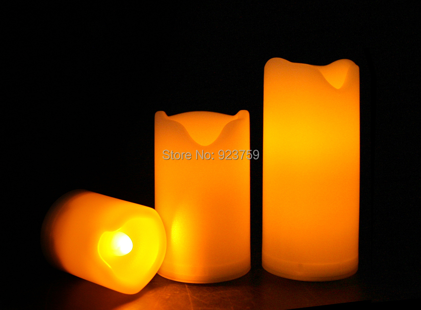 Candle Choice Set of 3 Mini Plastic Flameless Candles/LED Candles with Dual-Timer(China (Mainland))