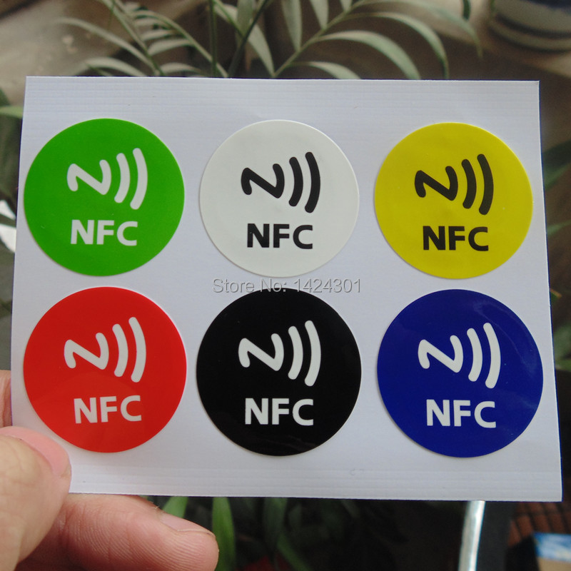 (6pcs)PET NFC Tag Stickers Adhesive RFID Tags Label 6 DIfferent Colors Alarm Clock Control All Phones Compatible(China (Mainland))