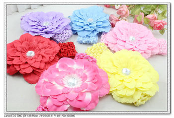 24 pieces/lot cute multicolor crochet peony flower baby kids headbands fit for 1 - 5 years old  H5077 Fashion