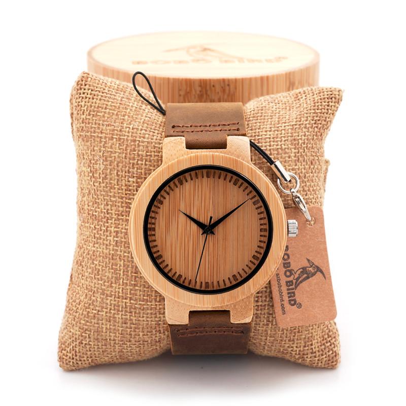 БОБО ПТИЦА мужская Кварцевые Часы Ручной Древесины Бамбука Часы Кожаный Ремешок Повседневная Часы для Мужчин Часы с БАМБУКОВОЙ КОРОБКЕ