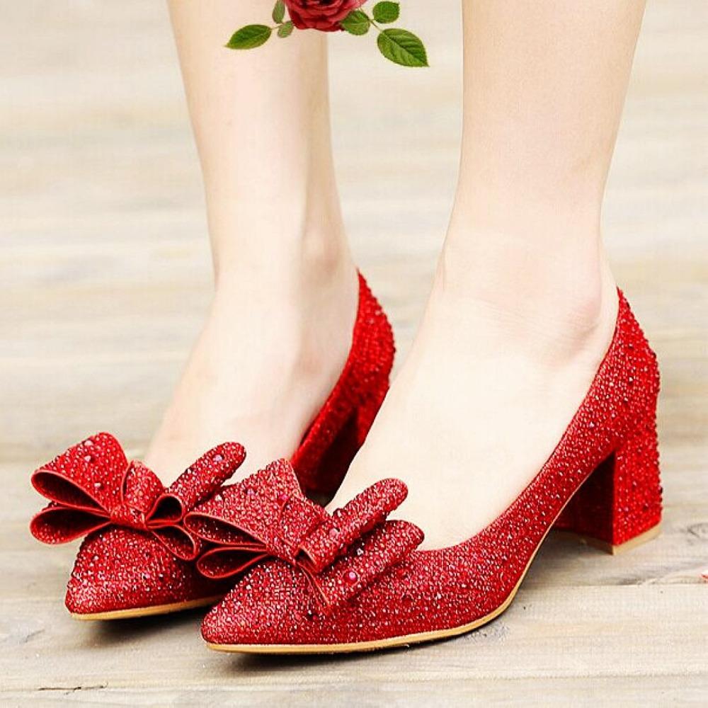 2015 Hot Sales Women Wedding Pumps Slip On Fashion Bowtie Red Rhinestone Pumps Square Heel Pumps For Elegant Women(China (Mainland))