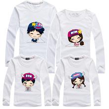 Mother Daughter Dress Hot Selling 95% Cotton Long-sleeve T-shirt ,8 Colors Family Set Matching Clothing Men Women Kids T-shirts