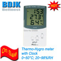 Indoor Digital Hygrometer Thermometer with Clock and C F Switch Measuring