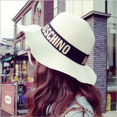 NEW 2015 letter mosc beach hat holiday for summer hat fashion women Straw hat beautiful school Student sun hat(China (Mainland))