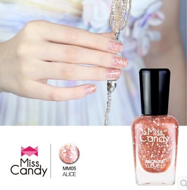 Miss Candy Non-toxic Odorlessness Water-based strippable paint Alice orange and pink bling powderr nail polish(China (Mainland))