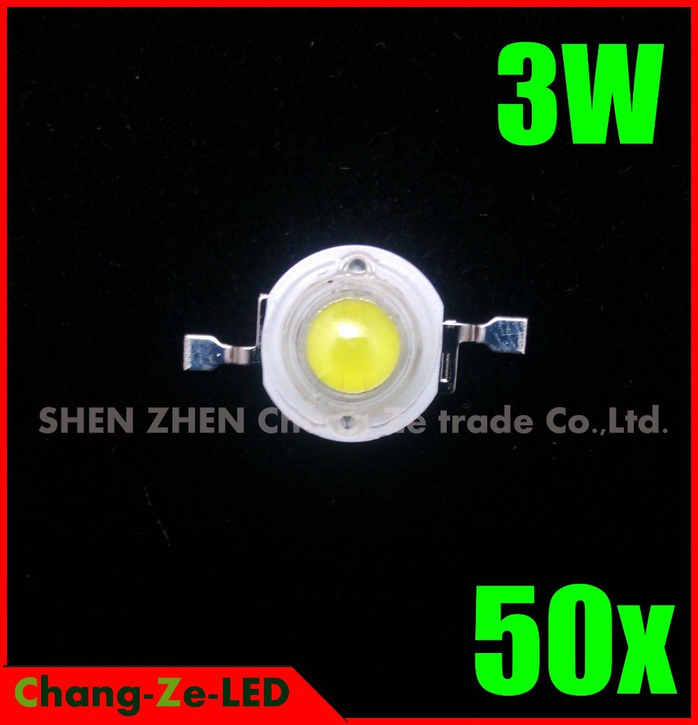 100% authentic! 50pcs/lot High Power Epistar Chip 3W LED Bulb Diodes Lamp Beads 240lm-300lm, for 3W 6W 9W 12W LED Spot Light(China (Mainland))