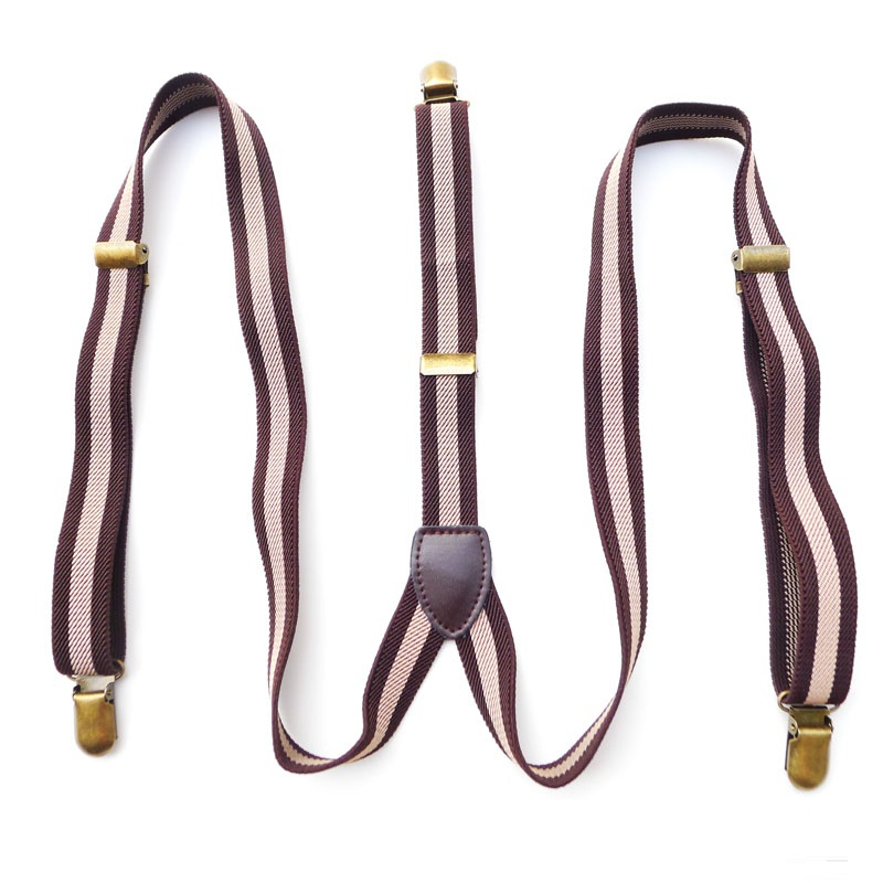 Hot retro female models suspenders men and women tan leather strap belt clip decorated suspenders(China (Mainland))