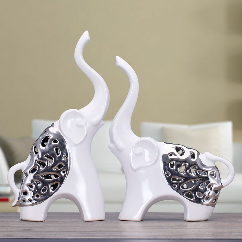 White silver ceramic african elephant home decor crafts room decoration ceramic kawaii ornament Silver elephant home decor