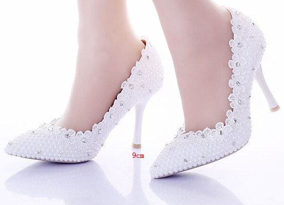2015 new pointed high heels wedding shoes women pumps white pearls shoes new desigh free shipping