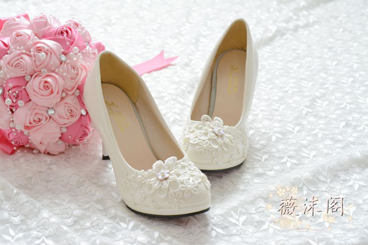 Aliexpress Buy Shoes Woman High Heels Wedding Shoes Platform Shoes White Pearl Lace Flower