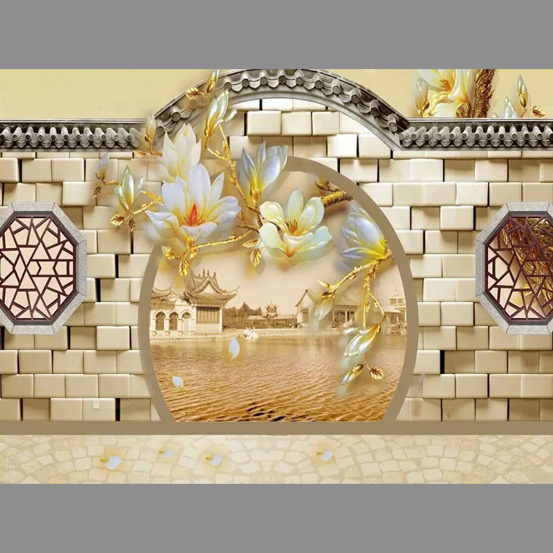 3D brick walls gate Unseamed silk cloth Custom photo wallpapers 3D wall papers backdrop mural wallpapers background