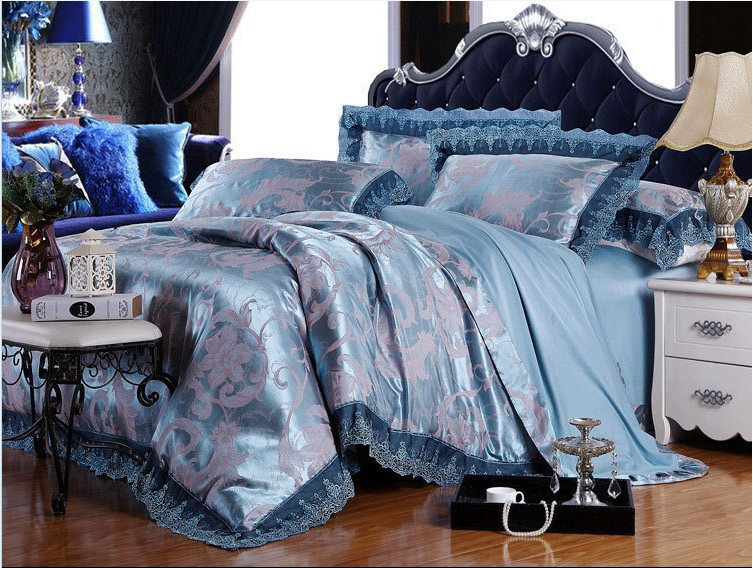 2015 HOT!!! Lace bedclothes 4pc jacquard bedding set king size bed cover duvet cover queen size(China (Mainland))