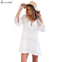 Spring 2016 Women Summer Dress Female Sexy Hollow 3/4 Sleeve Lace Boho Beach Dress Casual Loose White Short Mini Dress vestido(China (Mainland))