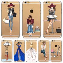 For iPhone 4 4S 5 5S SE 6 6s 6Plus 6sPlus Phone Case Cover Fashion Dress Shopping Girl Transparent Soft Silicon Mobile Phone Bag(China (Mainland))