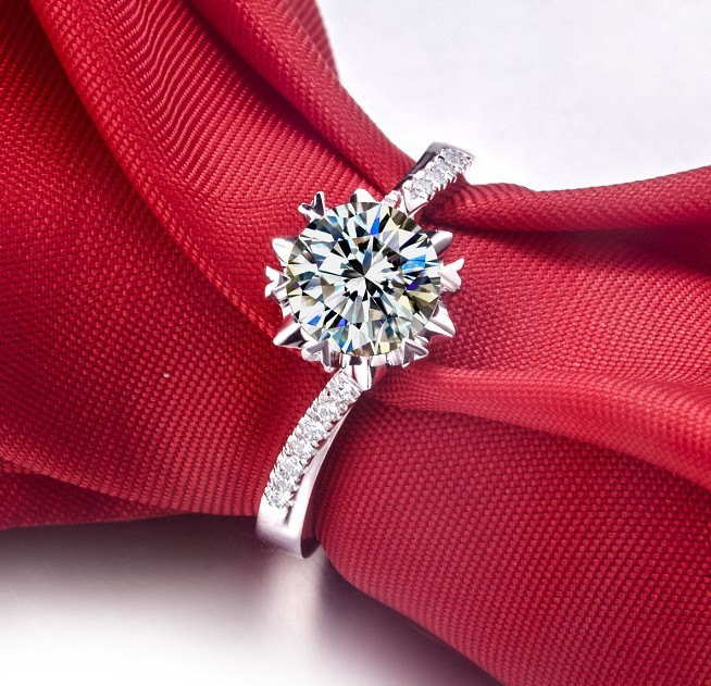 Gold 18K Semi Mount Snowflake 0.5CT Synthetic Diamond Engagement Fiancee Ring White Gold Jewelry Genuine 18K Wedding Gift Lover(China (Mainland))