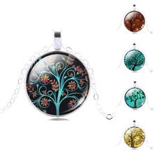 Life of Tree Pendant Necklace Eternal Tree Art glass cabochon silver plated chain choker Fashion necklace for women Jewelry 2014
