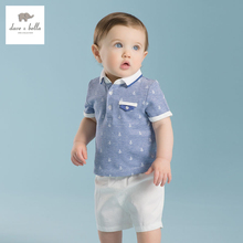 DB2148 dave bella summer printed short-sleeved baby clothing sets for boy printed sets infant set toddle clothes anchor print