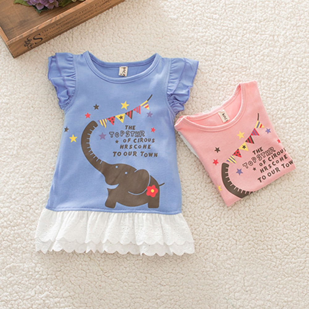1-3Y Cute Baby Girls Sleeveless Elephant Pattern Ruffle Bay Dresses Toddler Dress(China (Mainland))