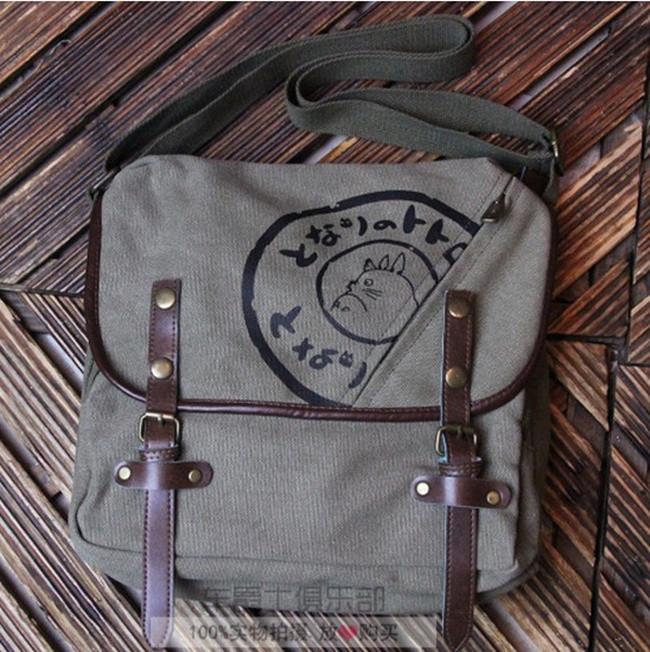 Fashion My Neighbor Totoro Cartoon Durable Messenger Bag Canvas Totoro Print Cosplay Shoulder Bags Casual Schoolbag Satchel