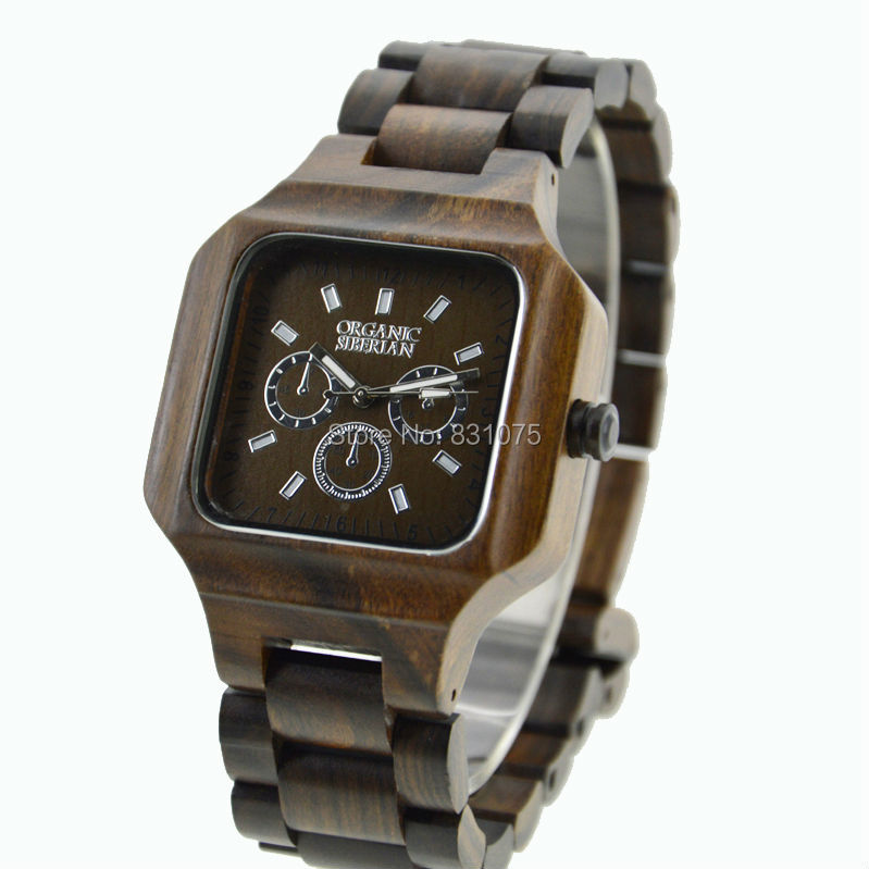 Square Wood Watches For Men With Chronograph Dial Dark Color New Arrival Stock Wood Watches For
