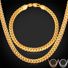 Gold/Rose Gold Color Chain For Men Necklace Bracelet Set Hot Fashion Men Jewelry Sets Wholesale NH739(China (Mainland))