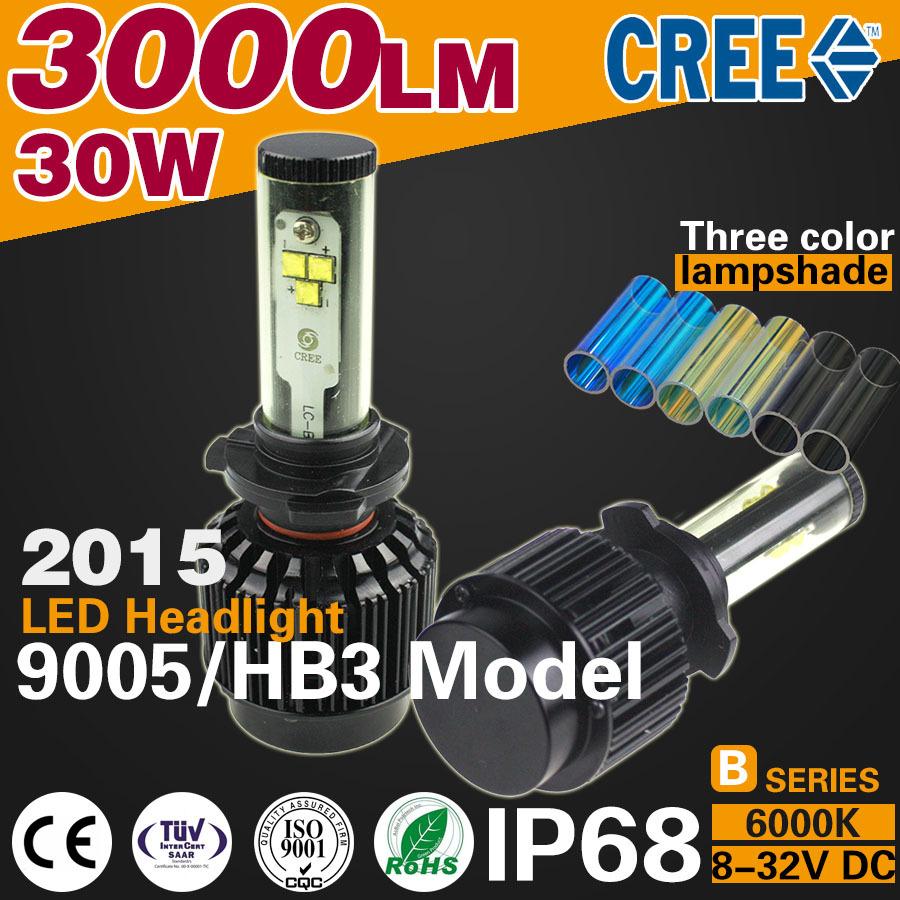 2016 new 3000LM/Bulb 30W CANBUS LED Car Headlight 9005 / HB3 model HeadLamp ip68 suv truck 4x4 cars accessories far better xenon(China (Mainland))